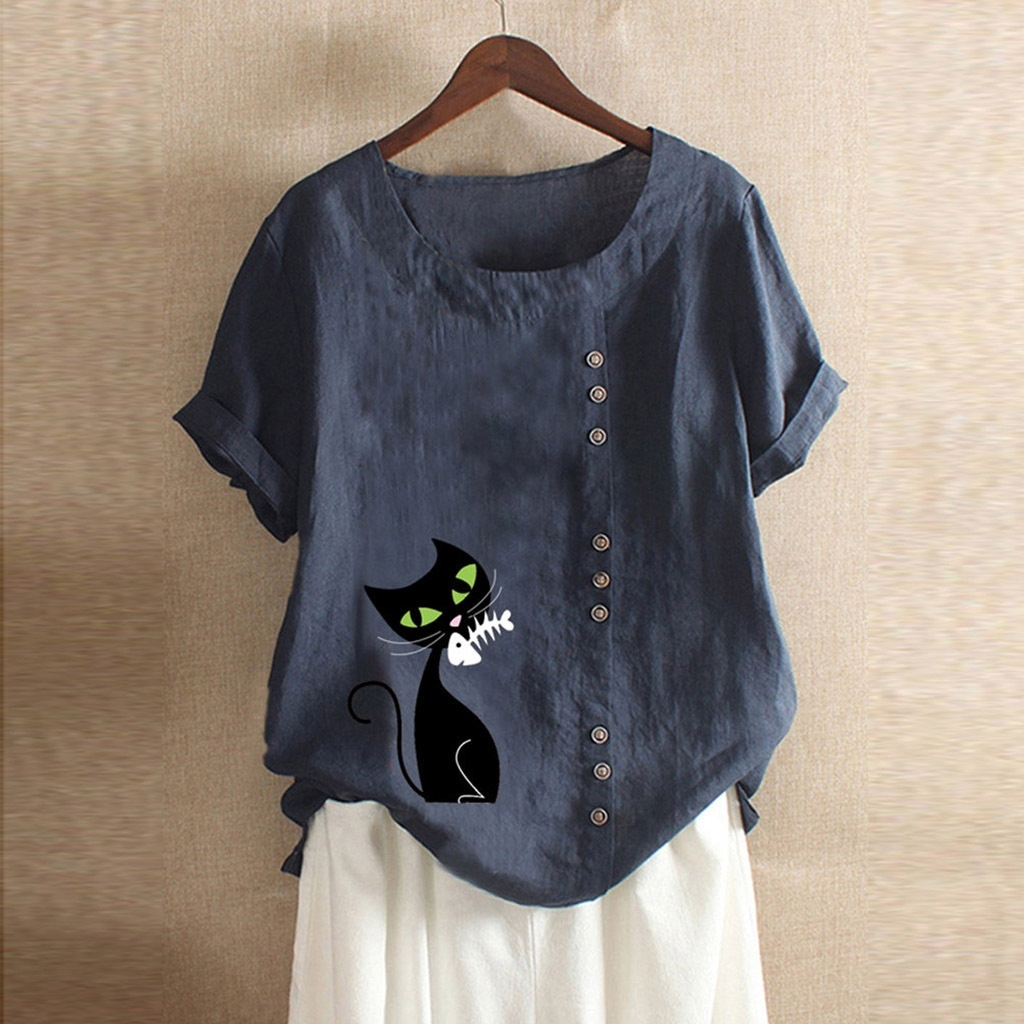 Women Casual Cat Printed Short Sleeve T Shirt Ladies Summer Fashion  Blouses Plus Size Tops