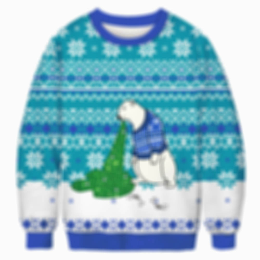 Vomiting Polar Bear Christmas Ugly Sweater Sweatshirt