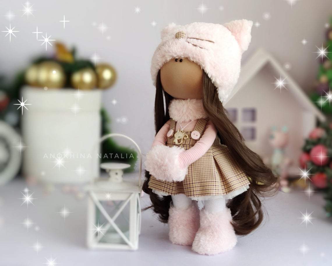Textile doll Handmade doll Fabric doll Pink