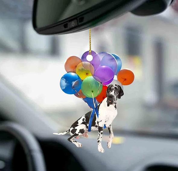 Cute Great Dane Dog Fly With Bubbles Car Hanging Ornament