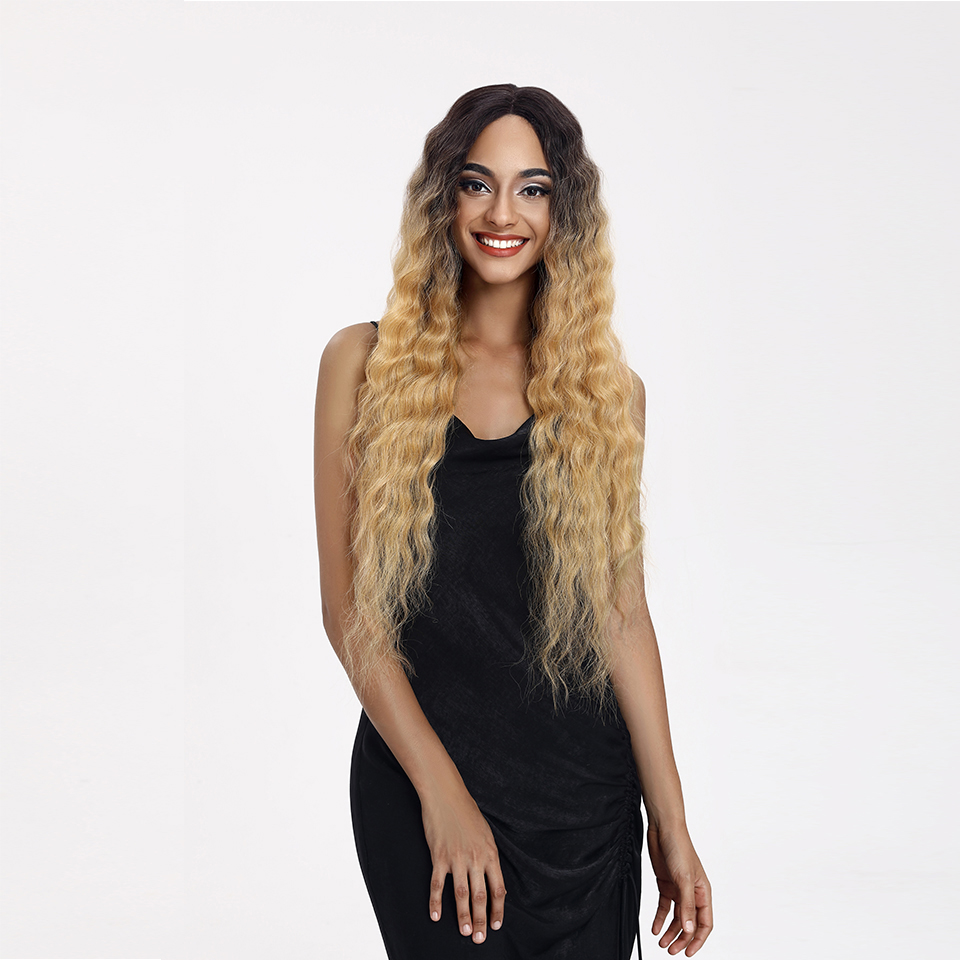 Lacwig®    Long Wave Wigs For Women Deep Wave Middle Part Ombre Blonde Brown 6 Colors Available