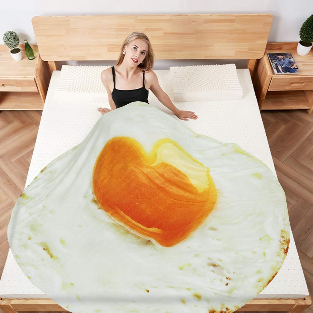 Creative 3D Poached Egg Printing Beach Towel Food Creations Food Tapestry Delicate Novelty Blanket Perfectly Round Throw