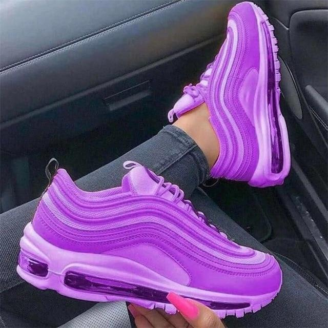 Air cushion women sneakers fashion solid color running shoes