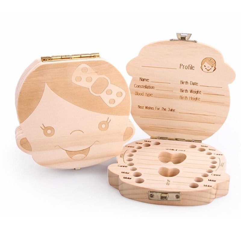 English Russia Wooden Baby Tooth Box Organizer Milk Teeth Storage Collect Umbilical Teeth Save Gifts Childhood Memory Tooth Fairy