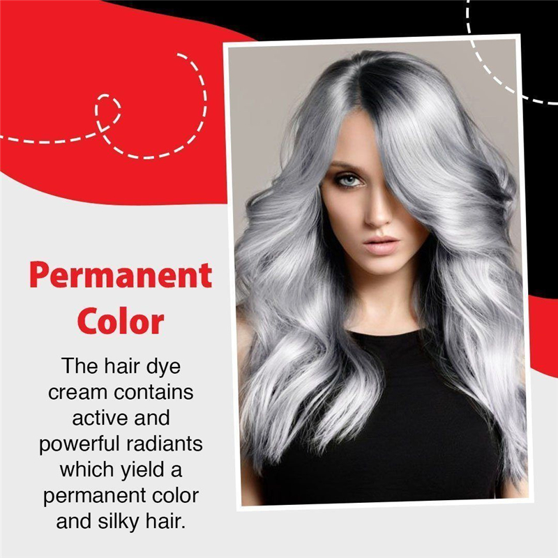 Permanent Silver Gray Hair Dye Cream Long-lasting