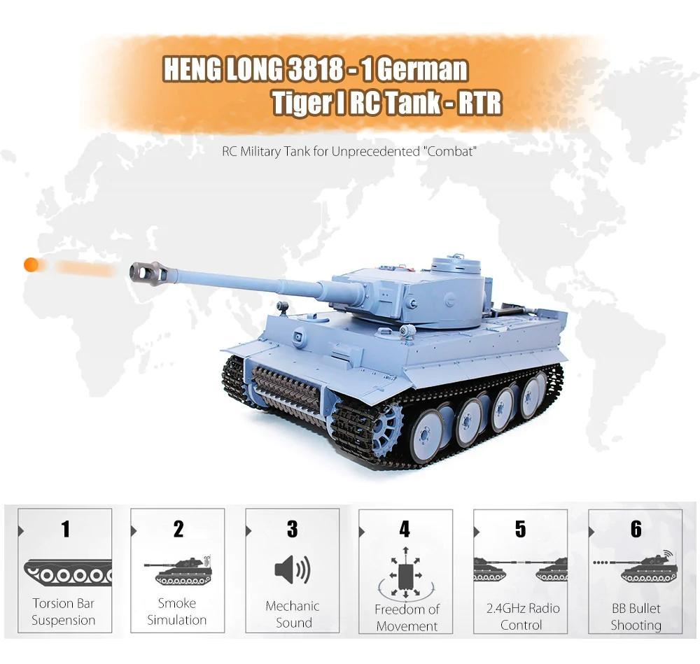 🔥50% OFF🔥Heng Long 1/16 2.4G Germany Tiger I Tank Full Metal Battle Tank