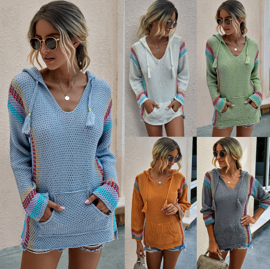Women's Color Block Hooded Sweater