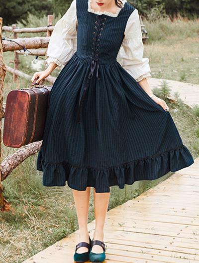 French Retro Lantern Sleeves Square Neck Dress
