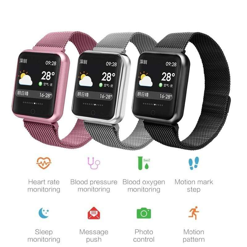 Men Women Smart Watch  Blood Pressure Blood Oxygen Heart Rate Monitor Sports Tracker Smartwatch IP68 Connect IOS Android