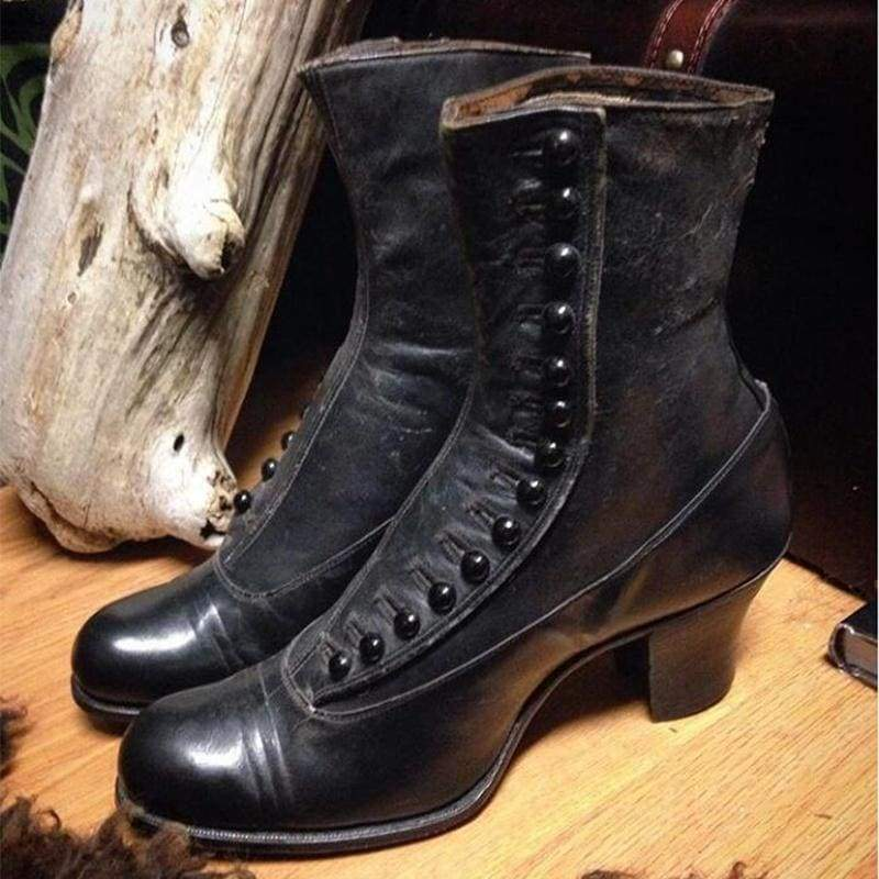 Vintage Style Women's Fashion Chunky Heels Leather Boots Short Boots Ladies Elegant Medieval Gothic Boots Shoes