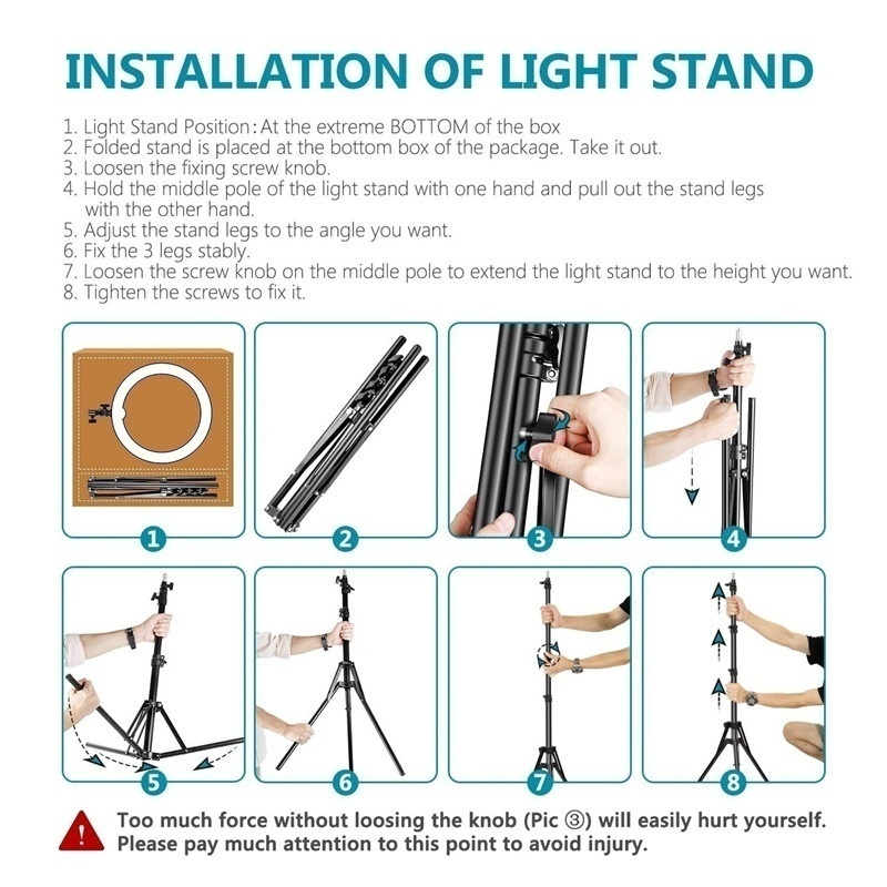 New Led 6-Inch Selfie Ring Light With Tripod Led Three-Block Dimmable Five-Speed Adjustable Tripod 360 Degree Rotatable