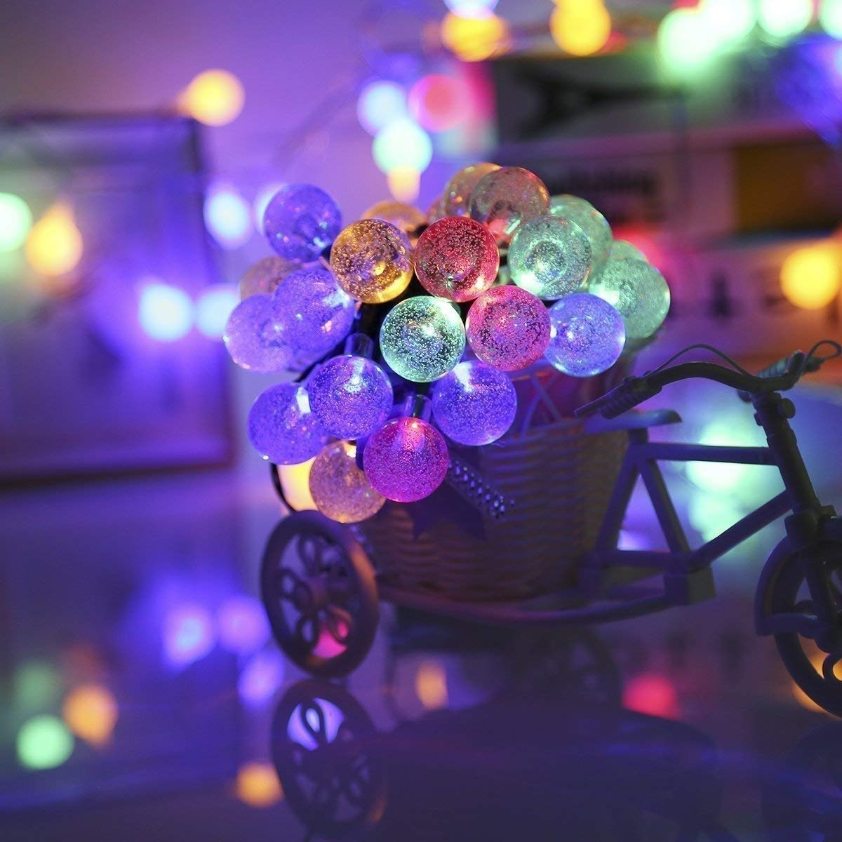 Solar String Lights Outdoor LED Waterproof Globe Solar Powered Fairy String Lights for Garden Patio Wedding Party Holiday Decoration (Warm White Crystal Ball)
