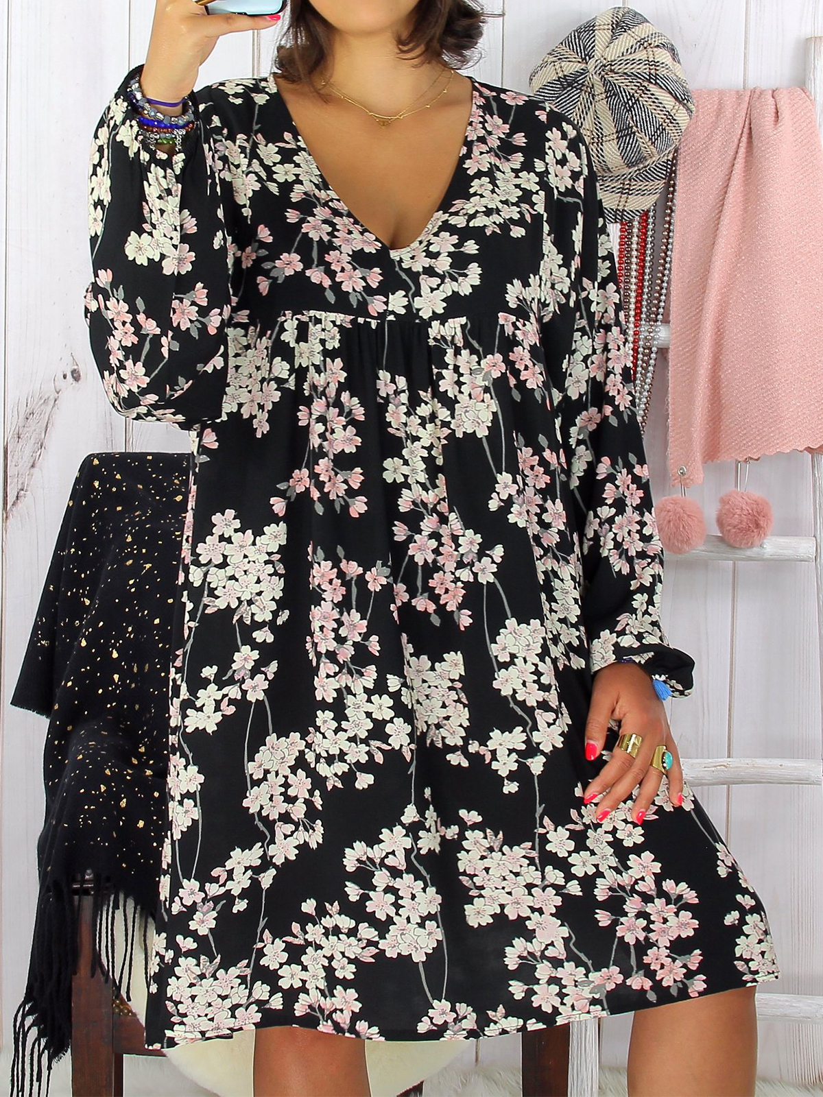 Casual Cotton,Polyester Long Sleeve Floral with Dresses(Plus Size)