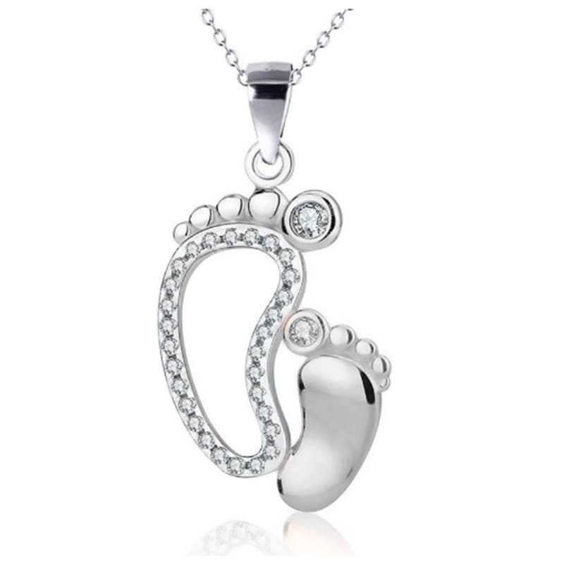 Fashion Crystal Lovely Feet Pendant Necklaces Mom Baby Mother's Day Gift Jewelry Mother Child Foot Silver Chain Locket Necklace