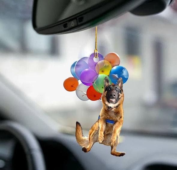 German Shepherd Dog Fly With Bubbles Car Hanging Ornament