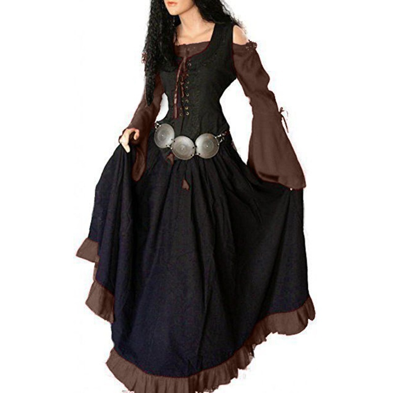 Cosplay Custum Women Gothic Medieval Dress Off The Shoulder Long Dress Vintage Dress Robe Collect Waist Lace Up Front Maxi Dress Plus Size S-5XL