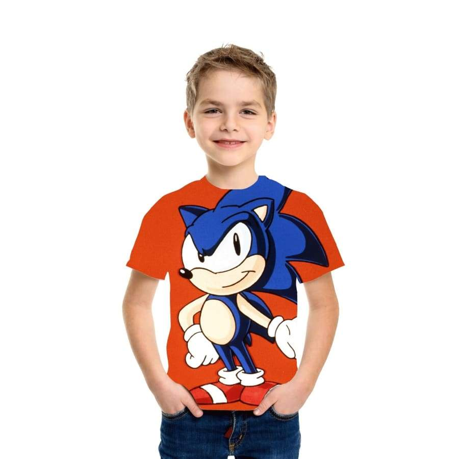 New Children Sonic The Hedgehog Boys Girls Tops Tees Cartoon Design Funny T-Shirts Kids Summer Casual Clothes