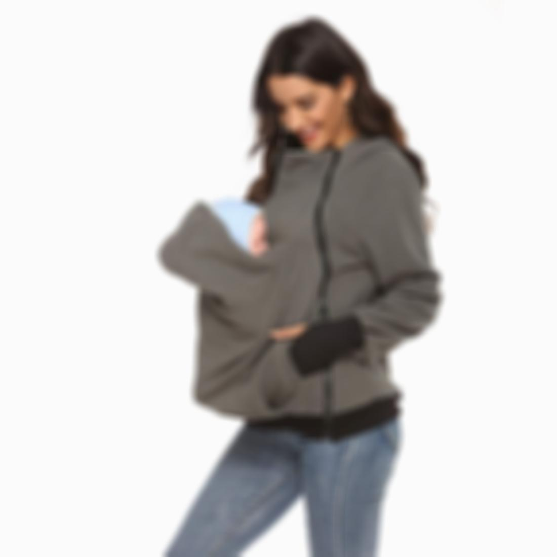 【Buy 2 Free Shipping】Three-in-One Multi-Function Mother Kangaroo Sweater Coat for Women