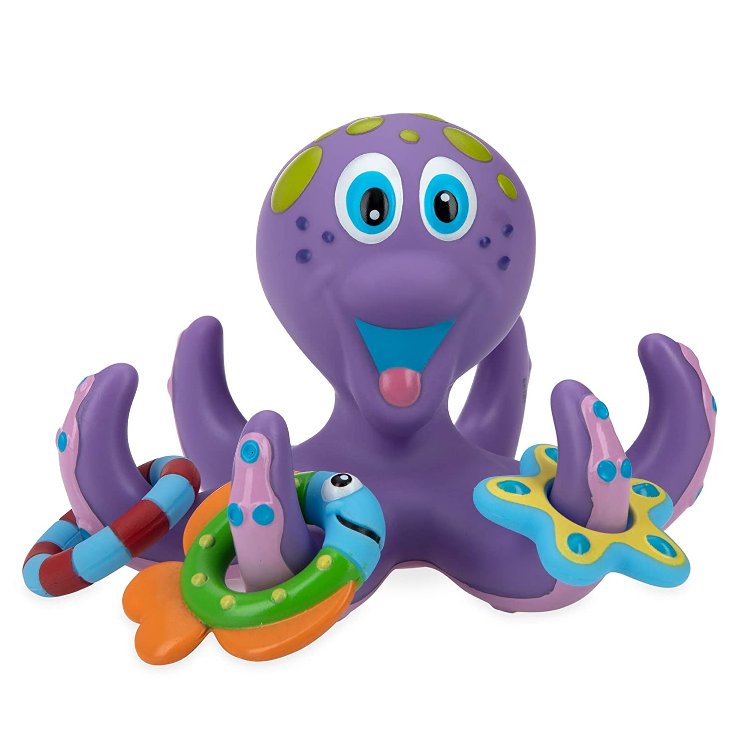 Floating Purple Octopus with 3 Hoopla Rings Interactive Bath Toy
