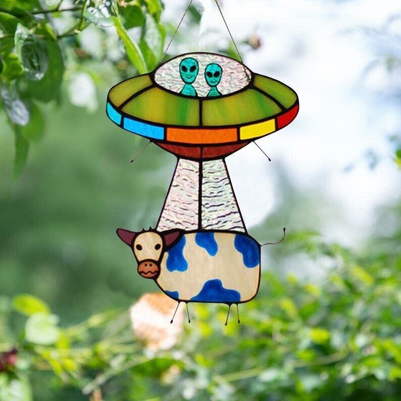 Alien and cow dyed sunbathing window decoration, painted UFO pendant(Buy two free shipping)