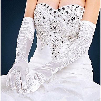 Cotton / Satin Wrist Length / Opera Length Glove Charm / Stylish / Bridal Gloves With Embroidery / Solid
