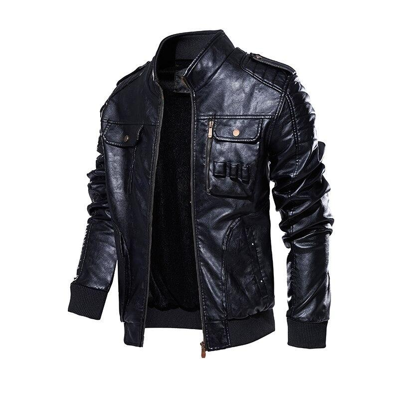 PU Leather Stand Collar Motorcycle Jacket