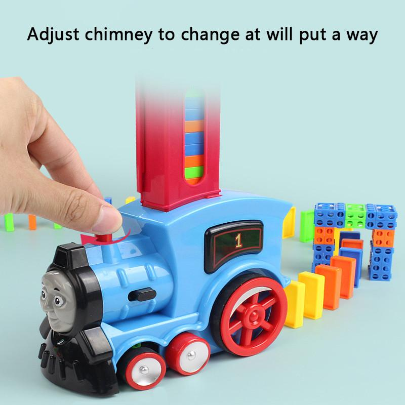 50% OFF TODAY—Transparent colorful plastic domino puzzle children automatic licensing licensing electric small train children's toys