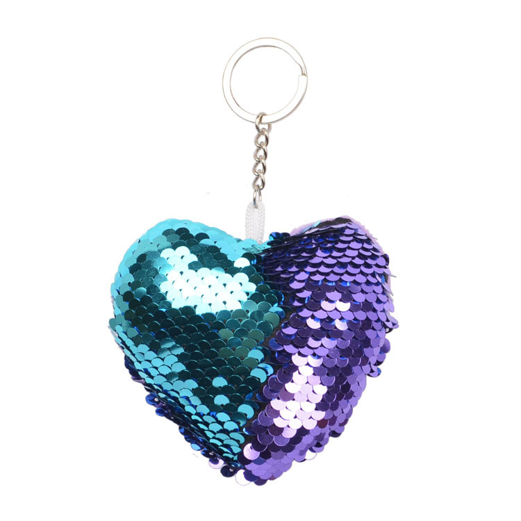 Sequined peach heart Mermaid  Key chain bag Pendant