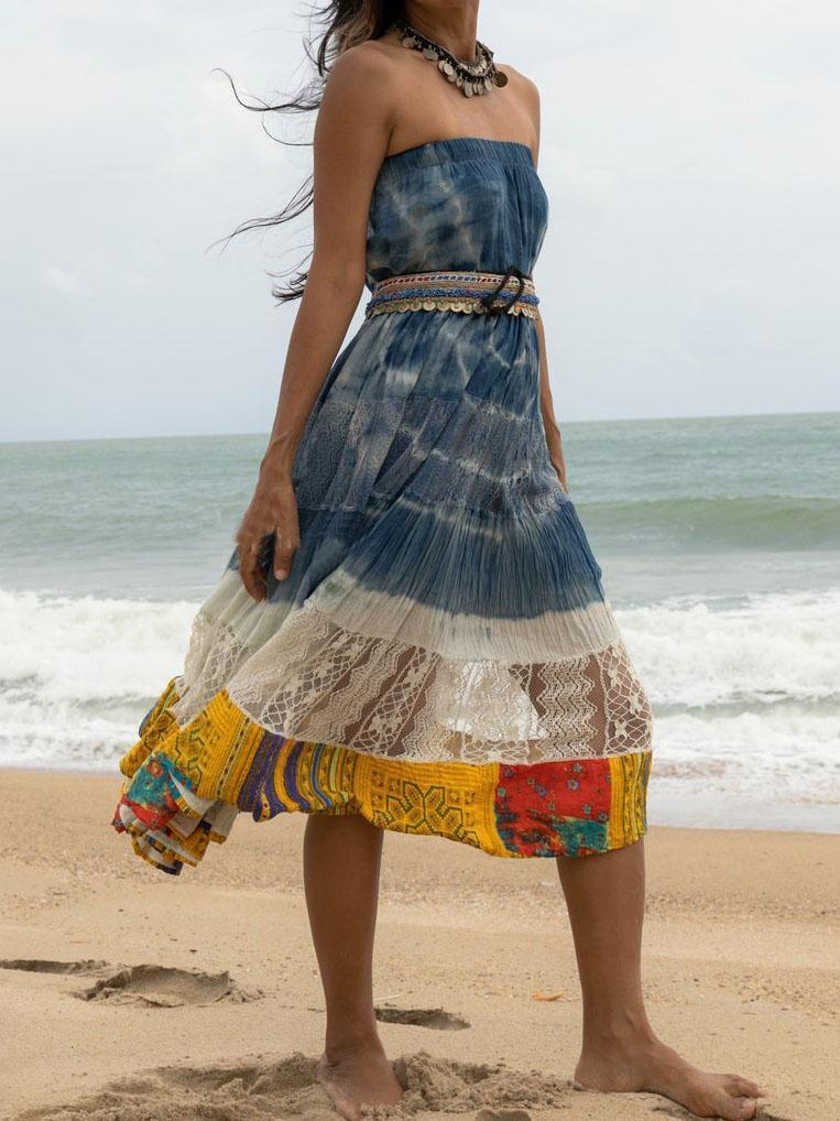 Cotton Vintage Tie Dye Gypsy Maxi Skirt