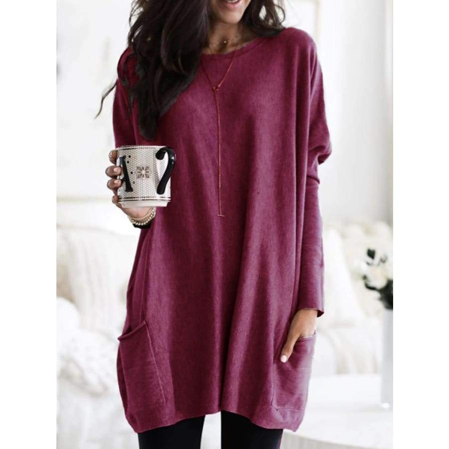 Women Autumn Loose Long Sleeve Tops Casual Pocket Tshirt Solid Color Plus Size Blouse Street Pullover Outwear