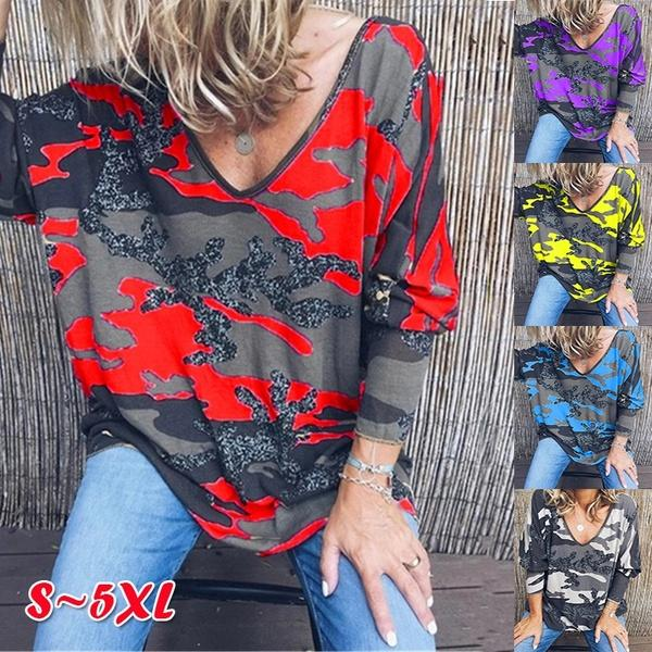 NEW Autumn Women's V-neck Printed Long-Sleeved T-shirt Casual Camouflage Blouse Street Loose Tops Plus Size S-5XL