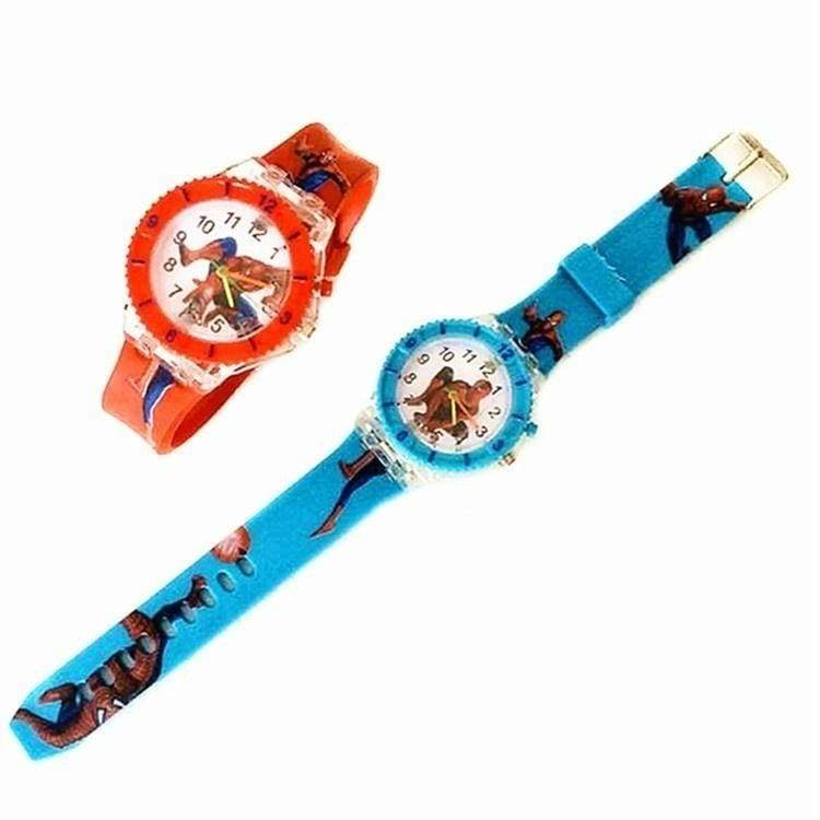 LED Lights Spider-man Watch Fashion Quartz Watches Childern Kids Christmas Birthday Gift
