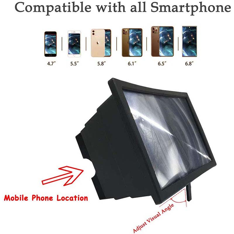 Universal 3D Folding Mobile Phone Screen Amplifier Holders For IPhone Samsung Screen Amplifier Magnification