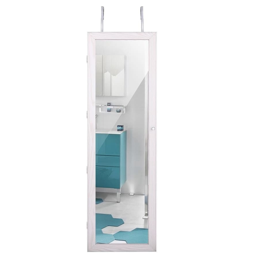 Wall Mounted/Door Hanging Jewelry Cabinet Lockable Organizer With Mirror