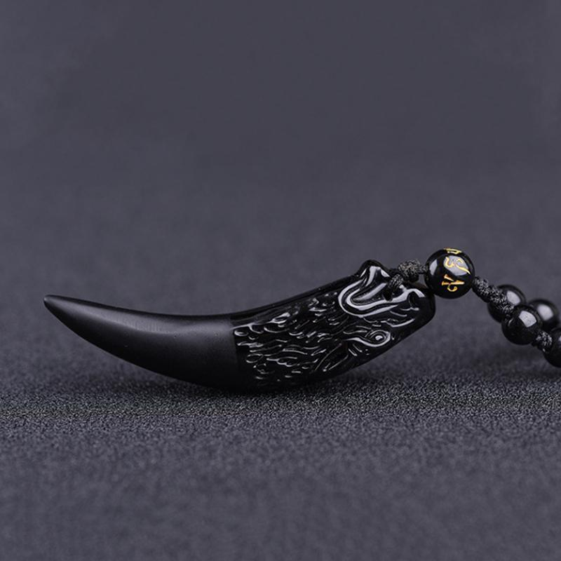 Higomore™ Obsidian Wolf's Tooth Necklace Pendant