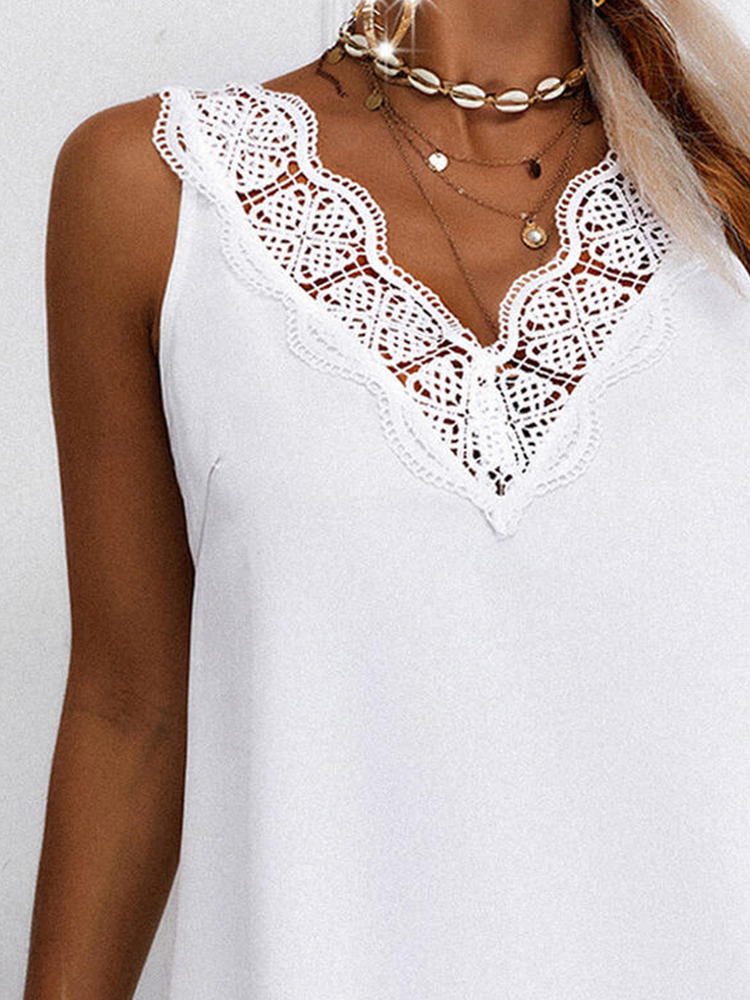Solid Color Lace Stitching Sleeveless Vest Dress