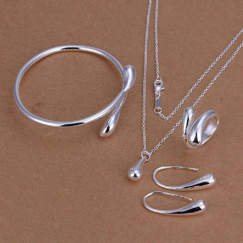 Korean Style Ring Necklace Exquisite Small Droplet Shape Pendant Silver Plated Jewelry Set Nice Gift for Girls