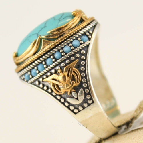 Vintage 925 Sterling Silver Natural Gemstone Turquoise Ring Women Wedding Engagement Anniversary Jewelry Size 5-10
