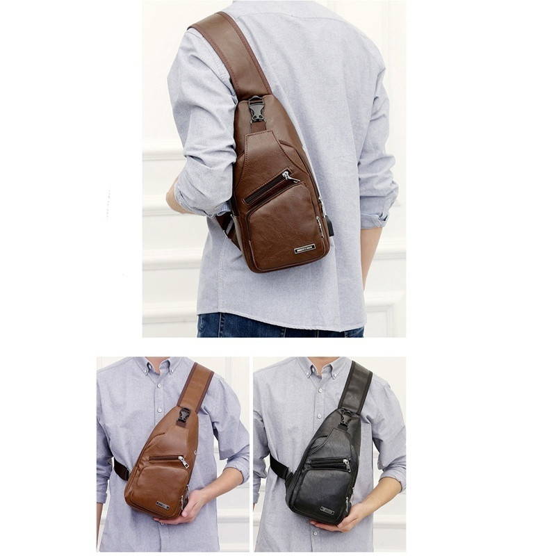 Men's Sling Bag Chest Shoulder Backpack Cross Body Purse Anti Theft For Travel Hiking School with USB Charging Port