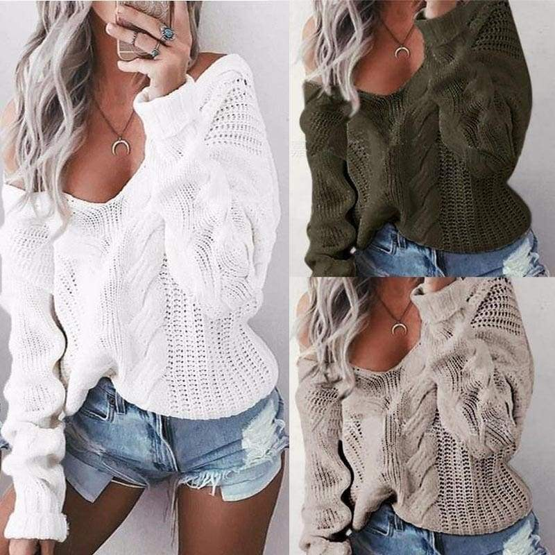 4 Colors Women's Fashion Sexy Off Shoulder Knitted Casual Loose Sweaters