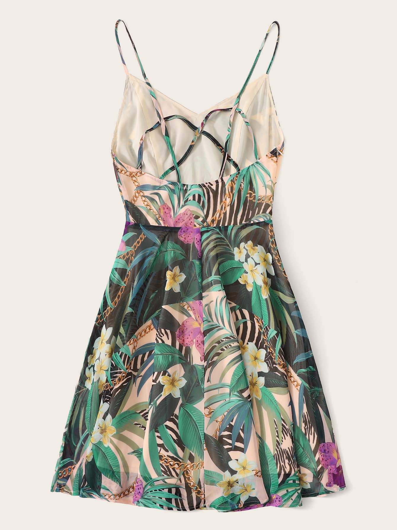 Mixed Print Cami Dress