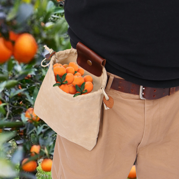 Multifunctional Outdoor Leather Canvas Picking Belt Bag