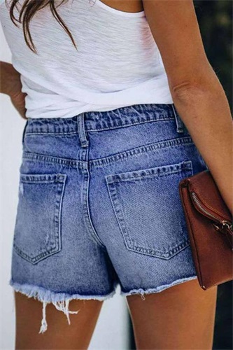 Florcoo Ripped & Repaired Denim Skorts