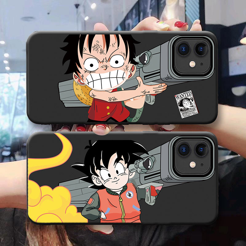 For iPhone 11 Pro 7 8 6 6S Plus X XS Max Xr Case Cover One Piece Japan Anime Luffy Goku Soft Black TPU Silicone Phone Case