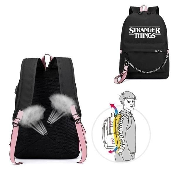 new Stranger Things Backpack Student School Bag for Boys Girls Canvas USB Charging School Backpack Youth backpack