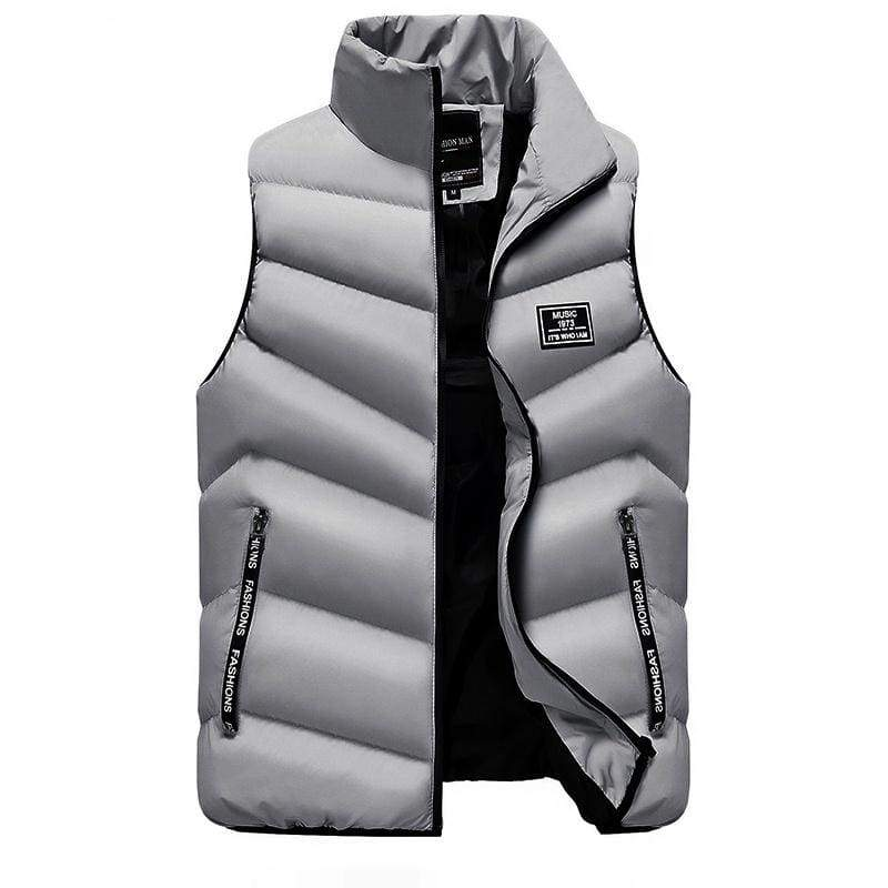 Winter Men Waistcoat Coats & Jackets Thick Stand Collar Solid Color Cotton Vest Duck Down Jacket Sleeveless
