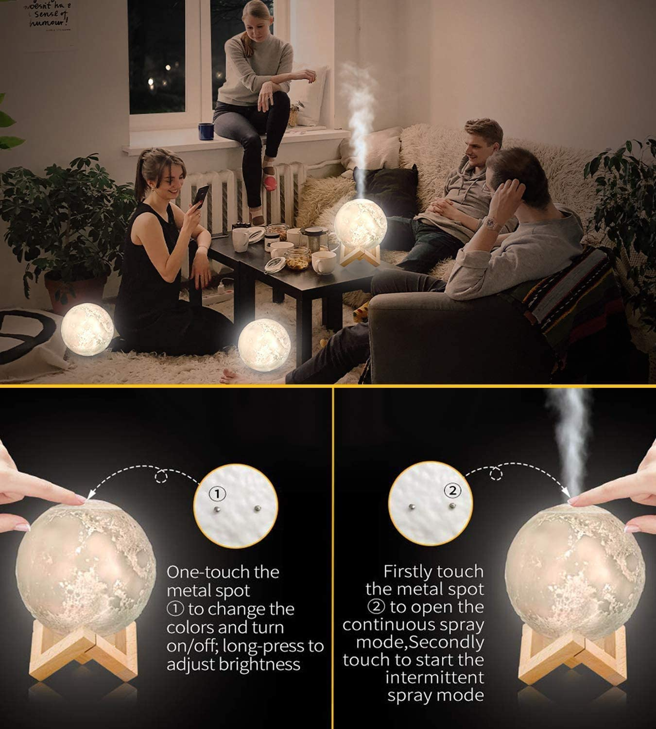 LED Desk Moon Lamp with Cool Mist Humidifier
