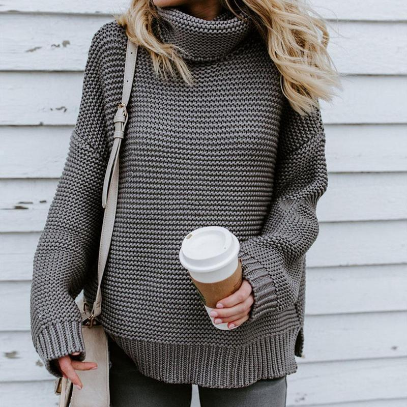Ladies Turtleneck Knitted Pullovers