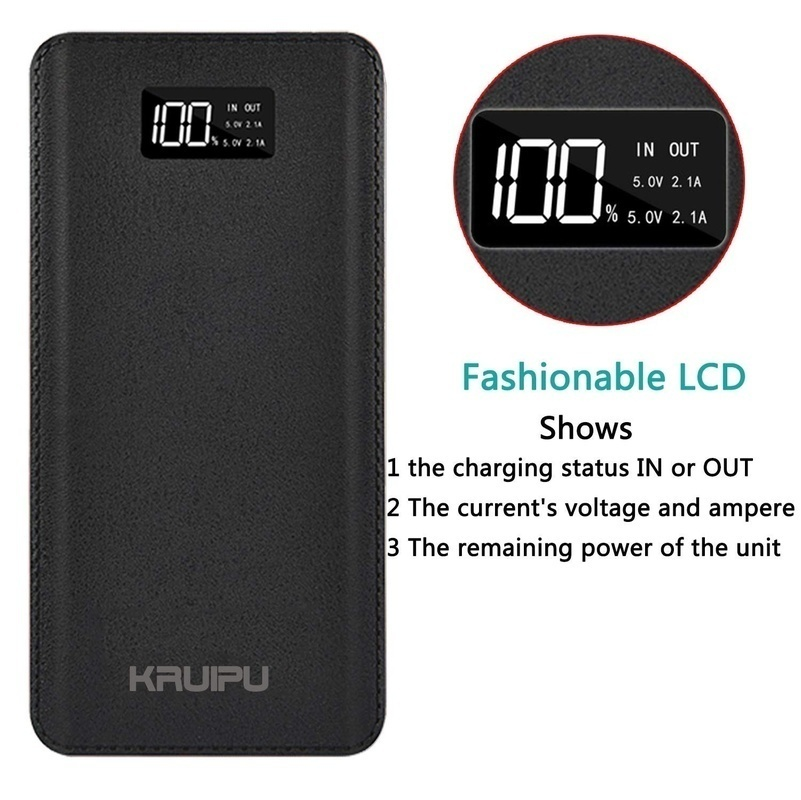 High Quality 2019 Huge capacity   Lcd Display Power Bank 4 USB Output and 2 Input Portable Power Bank Outdoor Travel Charger for iphone 8 X samsung tablet and more