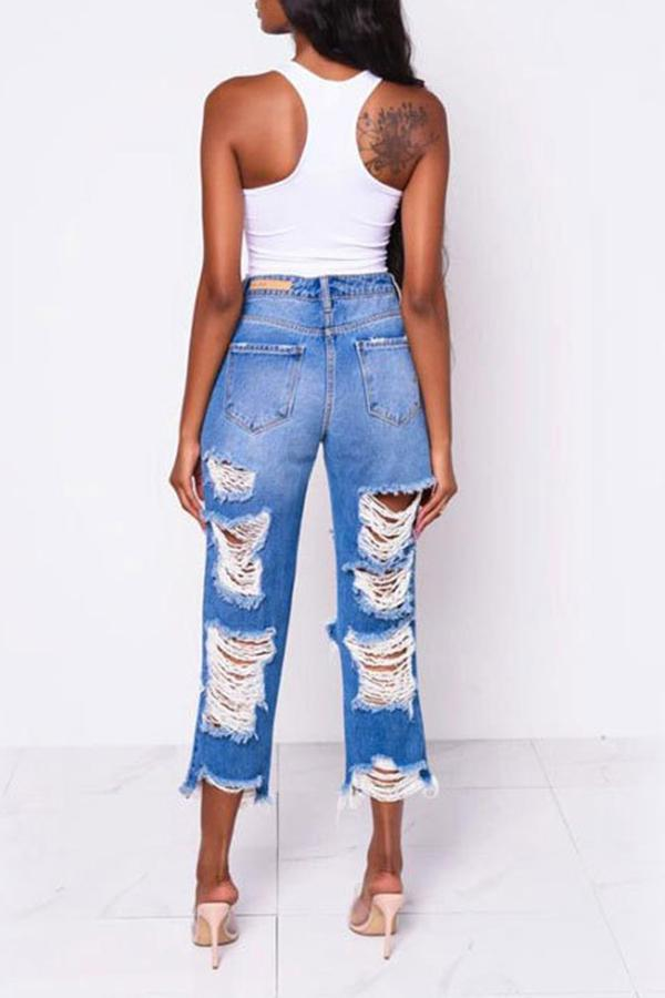 Casual Ripped Straight Jeans